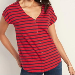 Striped Button Front V-Neck Tee